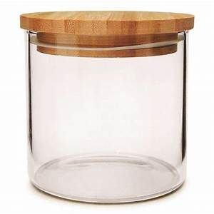 Pote de Vidro Hermético com Tampa de Bambu - 450 Ml Yoi