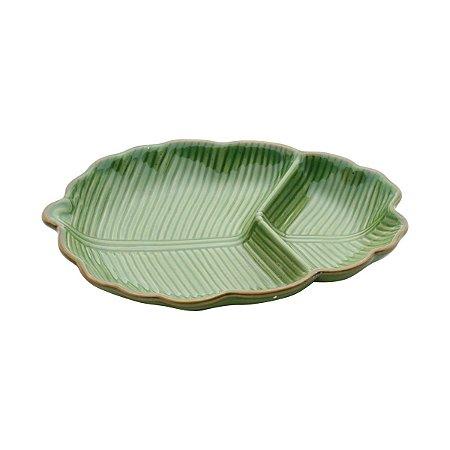 Travessa com Divisória de Cerâmica Banana Leaf  Verde 26,5 cm