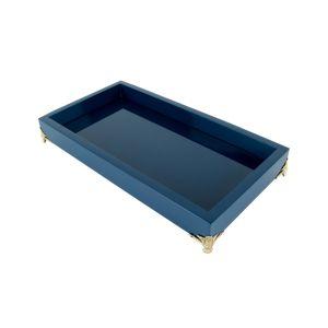 Bandeja de Madeira Com Pé Laqueada Azul Marinho