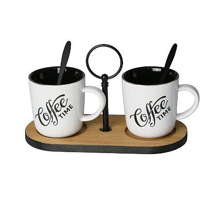 Conjunto para Café com Base de Bambu