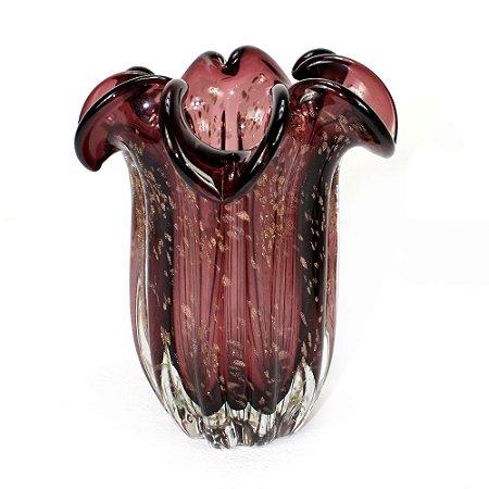 Vaso de Vidro Sodo-Cálcico Flat Italy Púrpura e Rose - Lyor