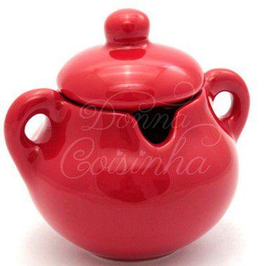 Açucareiro de Cerâmica Vermelho