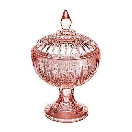Potiche Decorativo Com Pé de Cristal de Chumbo Queen Rosa 18cm