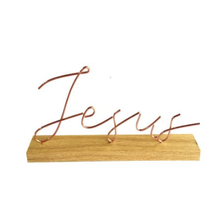 Palavra Jesus Rose com Base de Madeira