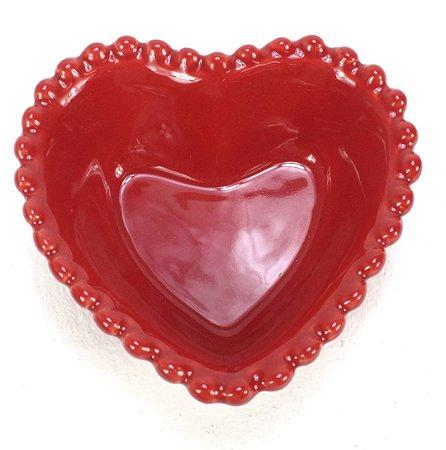 Travessa de Coração Vermelha Com Borda de Bolinha 500ml