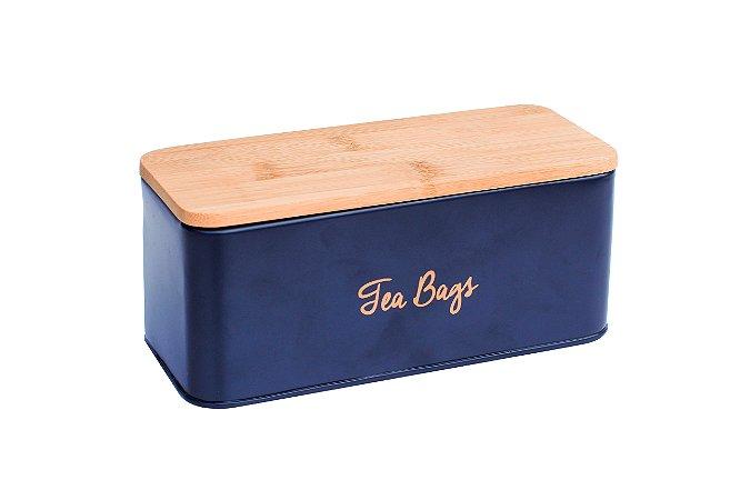 Lata Tea Azul Marinho com Tampa de Madeira