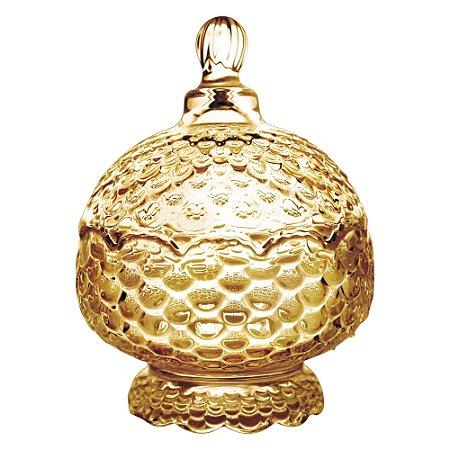 Potiche Decorativo com Pé de Cristal de Chumbo Pinneaple Âmbar