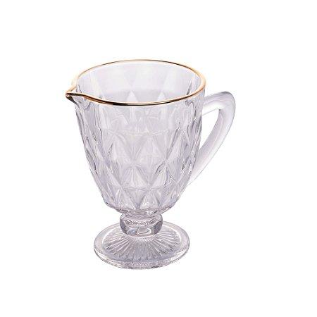 Jarra de Vidro Diamond Transparente Com Fio Ouro - Lyor