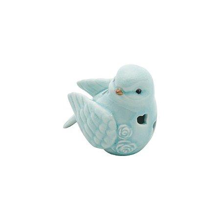 Pássaro Decorativo de Cerâmica Heart Azul Claro