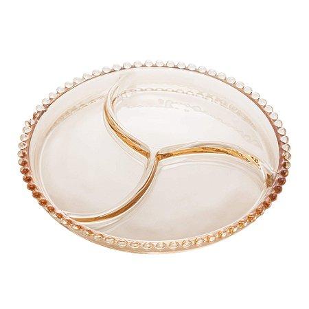 Petisqueira de Cristal de Chumbo Bolinhas Pearl Âmbar