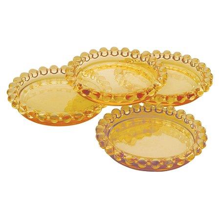 Mini Prato Decorativo Borda de Bolinhas Vidro Clear Âmbar - Unidade