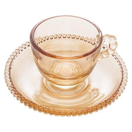 Xícara de Cristal de Chumbo Para Café Com Pires Bolinhas Pearl Âmbar - 80 ml