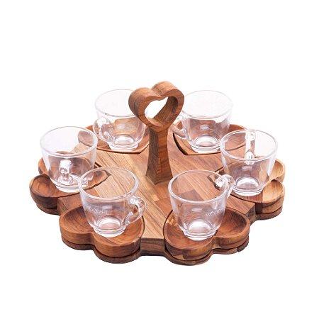 Conjunto de 6 xícaras com Pires e suporte de Madeira Teca