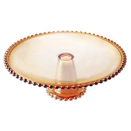 Prato Para Bolo Cristal de Chumbo Bolinhas Pearl Âmbar