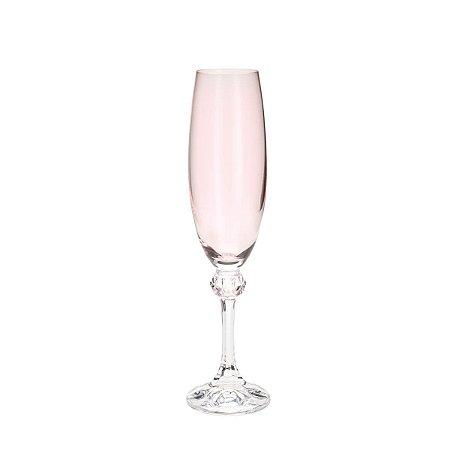 Conjunto de 06 Taças Cristal Ecológico Para Champanhe Elisa Rose 220 ml