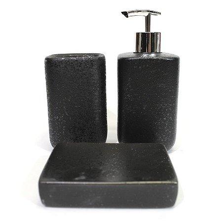 Kit para Banheiro Preto Textura