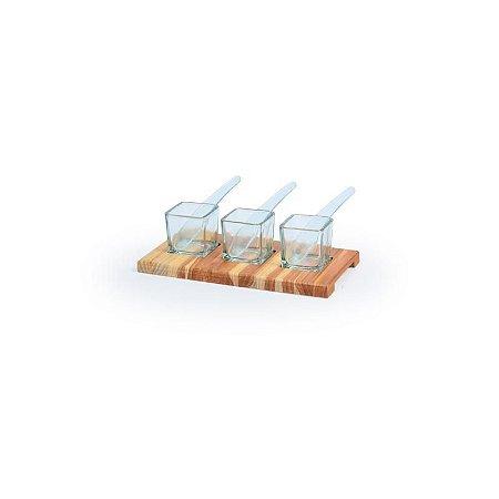 Tábua de Madeira Teca com 3 Molheiras de Vidro