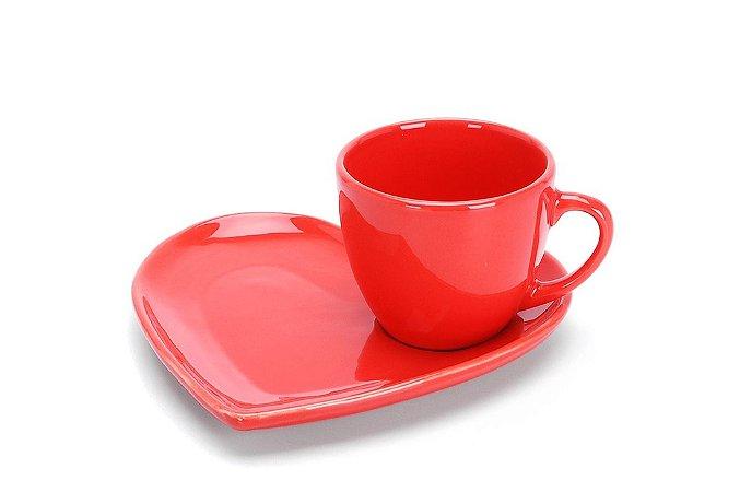 Xícara para Chá com Pires de Coração