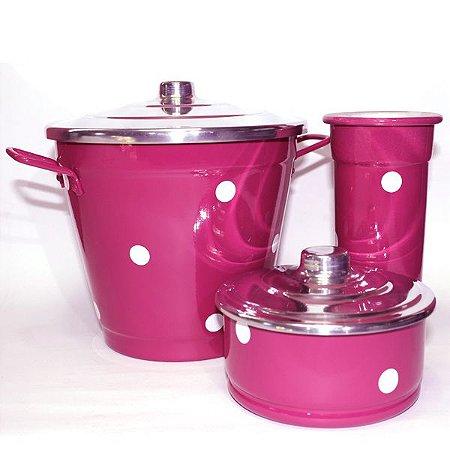 Kit para Pia - Poá Pink Escuro
