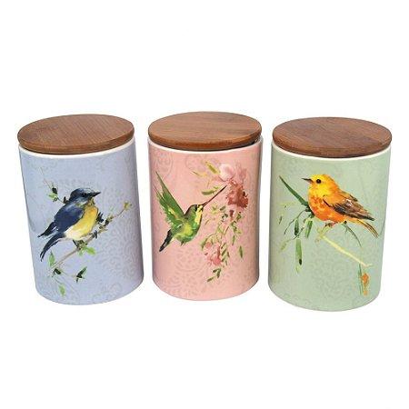 Conjunto de Potes de Cerâmica Pássaros