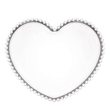 Prato de Cristal de Chumbo Pearl Bolinha Coração Clear 30 cm - Wolff