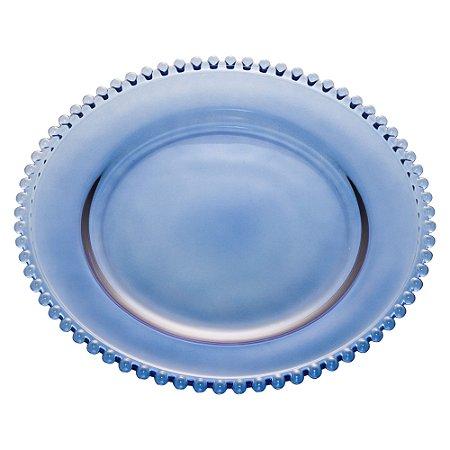 Prato de Cristal de Chumbo Bolinhas Pearl Azul Escuro 28 cm - Wolff