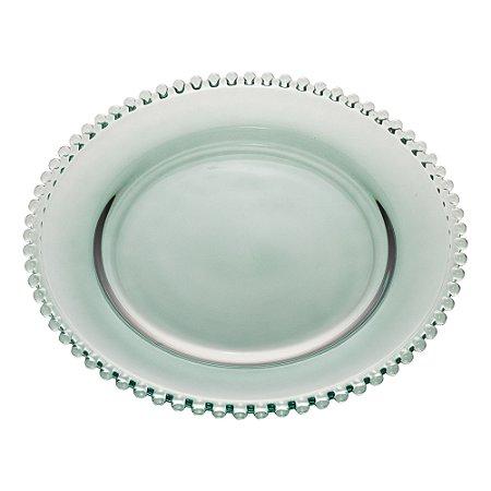 Prato de Cristal de Chumbo Bolinha Pearl Verdel 28 cm - Wolff