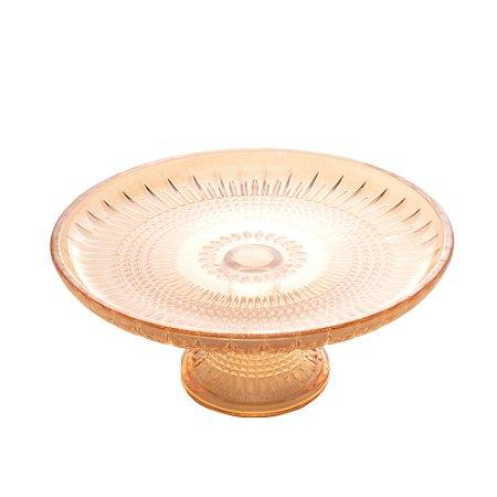 Prato Cristal de Chumbo Para Bolo com Pé Queen Âmbar 20cm - Rojemac