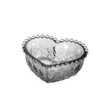 Mini Travessa de Vidro Sodo - Cálcico Coração Balls Cinza Metalizado