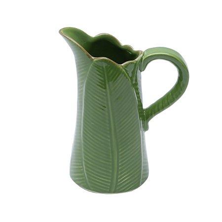 Jarra de Cerâmica Folha Leaf Verde 17,5 cm