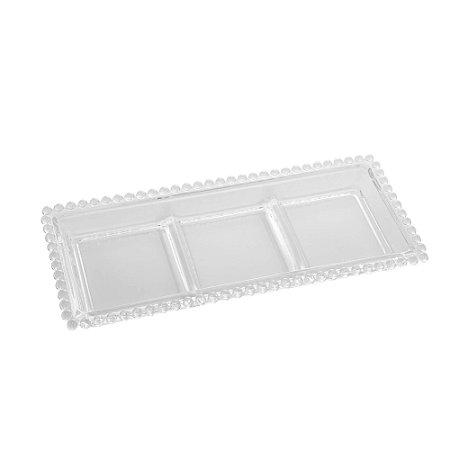 Petisqueira de Cristal com 3 Divisões de Cristal Chumbo Bolinhas Pearl Transparente