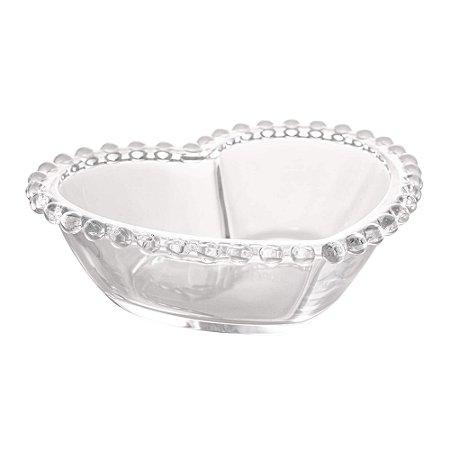 Bowl de Cristal de Chumbo Pearl Bolinha Coração Clear 19 cm - Wolff