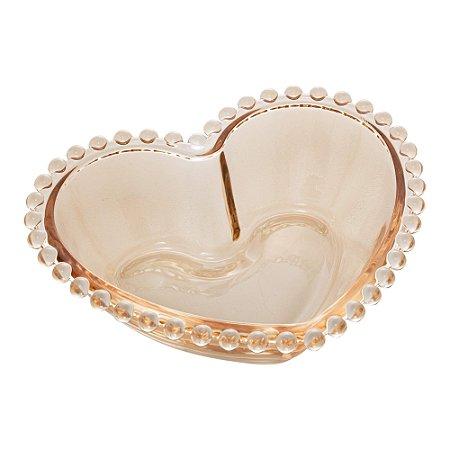 Saladeira Cristal Coração Bolinhas Pearl Âmbar 21cm