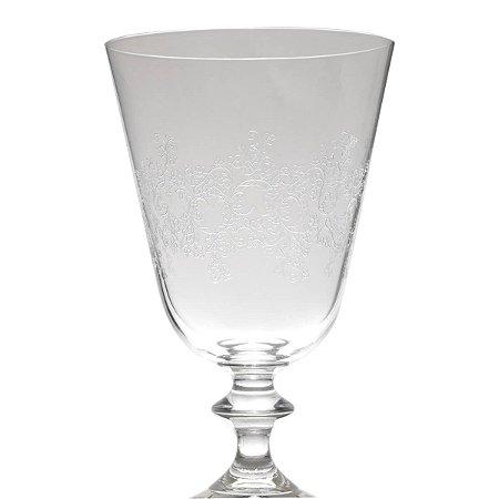 Conjunto de 06 Taças Cristal Para Vinho Pantografada Tinto Bella Leaf