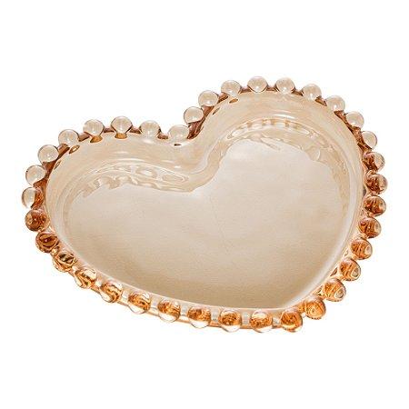 Prato de Cristal de Chumbo Pearl Bolinha Coração Âmbar 12 cm - Wolff