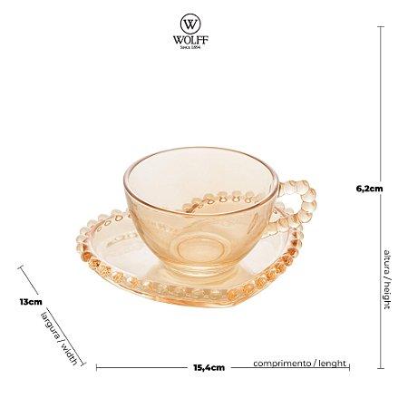 Xícara de Cristal de Chumbo Para Chá Com Pires de Coração Bolinhas Pearl Âmbar- 180 ml