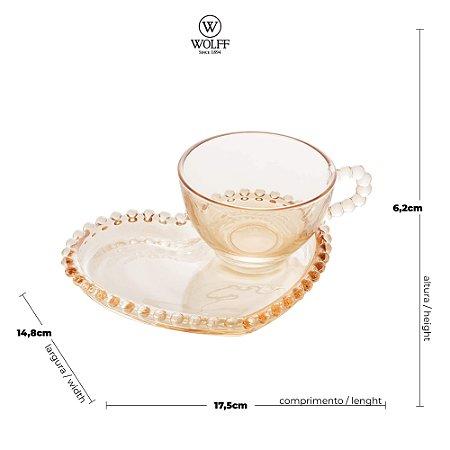 Xícara de Cristal de Chumbo Para Chá Com Prato de Coração Bolinhas Âmbar - 180 ml
