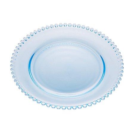 Prato de Cristal de Chumbo Para Sobremesas Pearl Bolinha Azul Claro  20 cm - Wolff
