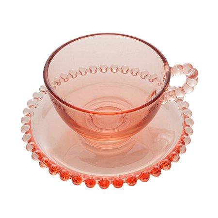 Xícara de Cristal de Chumbo Para Chá Com Pires de Bolinhas Pearl Rosa - 180 ml