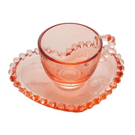 Xícara de Cristal de Chumbo Para Café Com Pires de Coração Bolinhas Pearl Rosa - 85 ml
