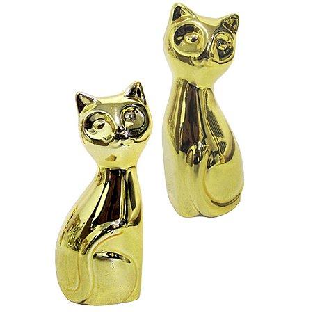 Enfeite Gatinhos Dourados Pequeno