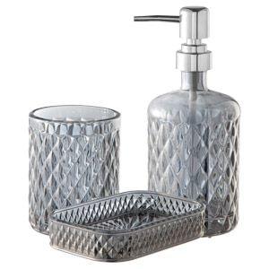 Kit com 3 peças para Banheiro Litt Banheiro Prata
