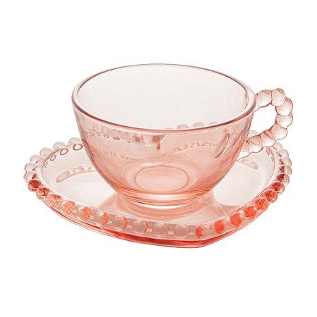 Xícara de Cristal de Chumbo Para Chá Com Pires de Coração Bolinhas Pearl Rosa- 180 ml