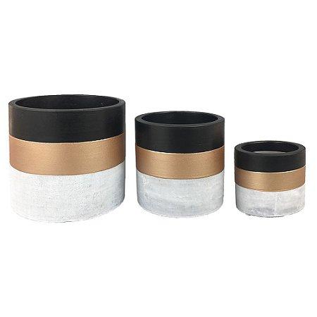 Trio de Vasos Cimento Preto e Dourado