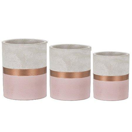 Trio de Vasos Cimento Rosa e Cobre