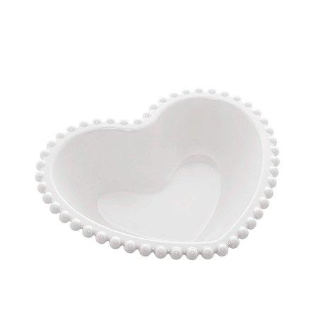 Saladeira de Coração de Porcelana Beads com Borda de Bolinhas Branca 18 cm