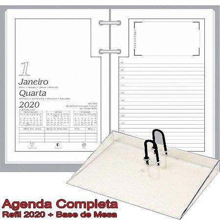 Agenda de Mesa REDOMA Calendário Comum 2020 R. 501 Branco + Base Cristal