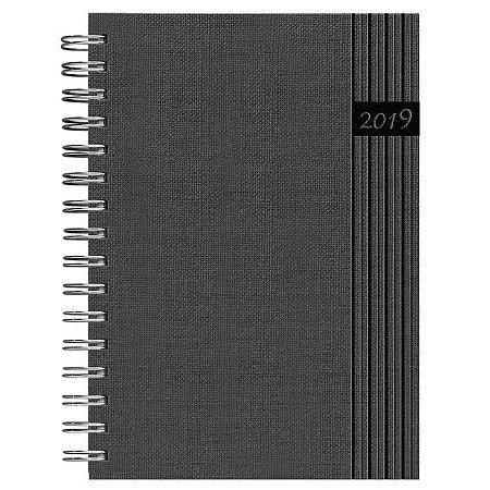 Agenda de Mesa Semanal Espiral Pombo 16,8 X 24,0 Cm, Capa Nature Cor Cinza Escuro