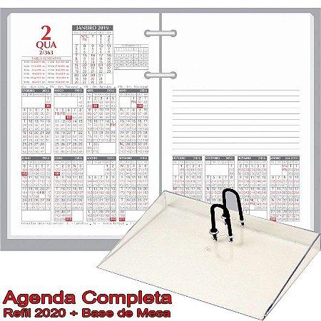 Agenda de Mesa REDOMA Calendário Financeiro 2020 R. 360 Branco + Base Cristal