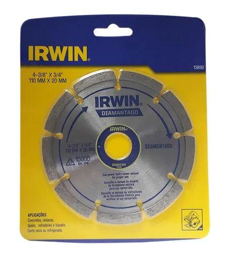 """Disco Diamantado Segmentado 3/8""""X3/4"""" IRWIN"""